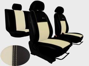 Autopotahy Škoda Fabia I, kožené EXCLUSIVE béžové, dělené zadní sedadla, 5 opěrek hlavy