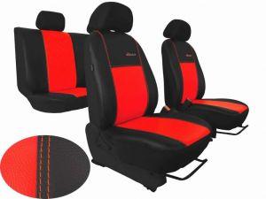 Autopotahy Škoda Fabia I, kožené EXCLUSIVE černočervené, dělené zadní sedadla, 5 opěrek hl