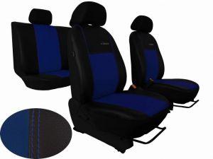 Autopotahy Škoda Fabia I, kožené EXCLUSIVE černomodré, dělené zadní sedadla, 5 opěrek hlav