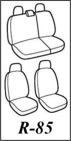 Autopotahy Škoda Fabia I, kožené EXCLUSIVE černomodré, dělené zadní sedadla, 5 opěrek hlav Vyrobeno v EU