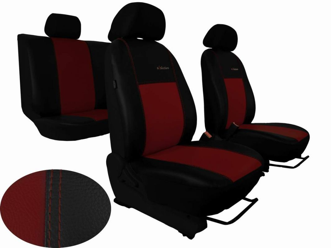 Autopotahy Škoda Fabia I, kožené EXCLUSIVE černovínové, dělené zadní sedadla, 5 opěrek hla