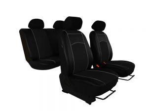 Autopotahy Škoda Fabia I kožené Tuning černé, dělené zadní sedadla, 5 opěrek hlavy,