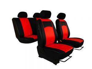 Autopotahy Škoda Fabia I kožené Tuning černočervené, dělené zadní sedadla, 5 opěrek hlavy