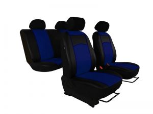 Autopotahy Škoda Fabia I kožené Tuning černomodré, dělené zadní sedadla, 5 opěrek hlavy