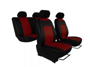 Autopotahy Škoda Fabia I kožené Tuning černovínové, dělené zadní sedadla, 5 opěrek hlavy