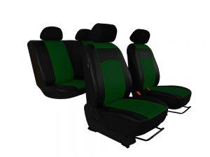 Autopotahy Škoda Fabia I kožené Tuning černozelené, dělené zadní sedadla, 5 opěrek hlavy