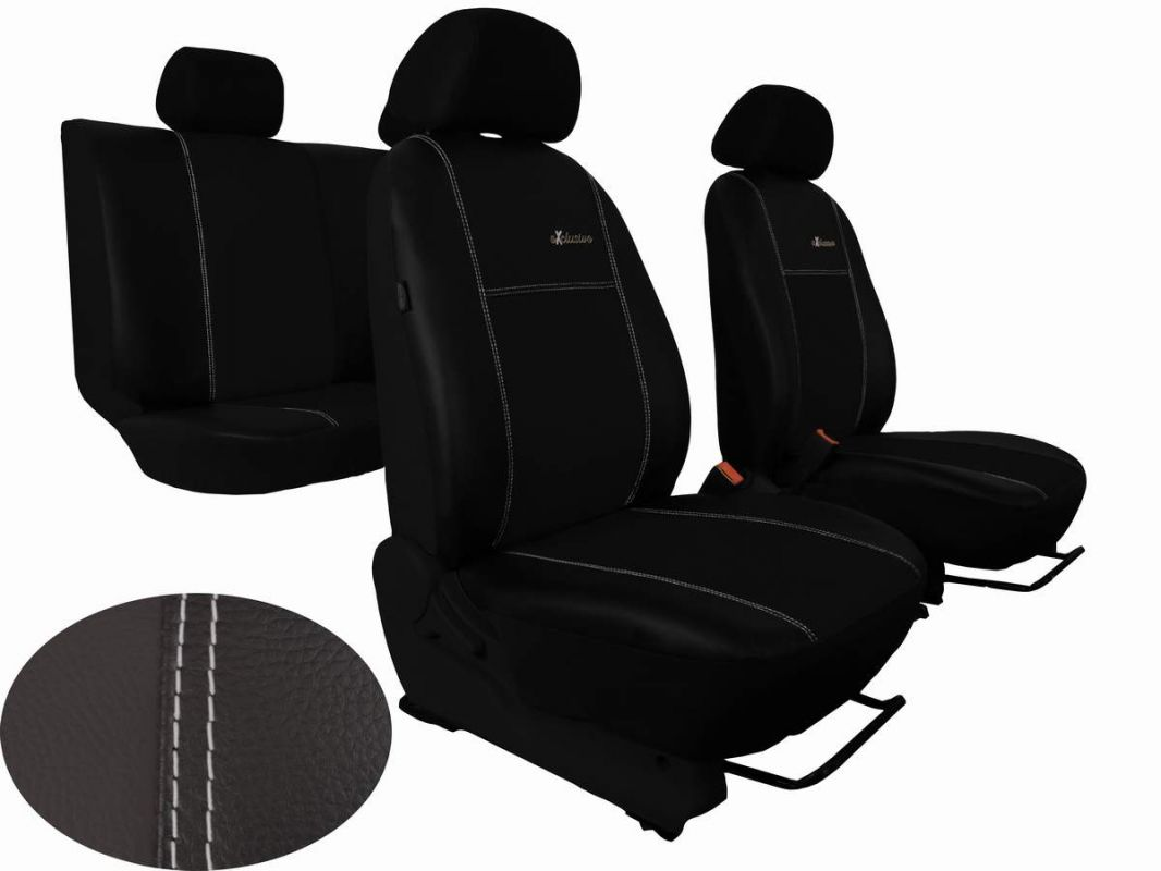 Autopotahy Škoda Fabia II, kožené EXCLUSIVE černé, dělené zadní sedadla
