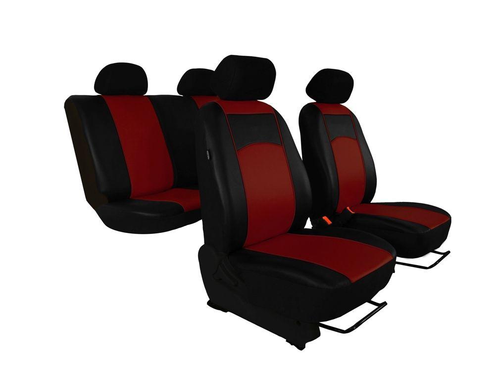 Autopotahy Škoda Fabia II, kožené Tuning černovínové, nedělené zadní sedadla