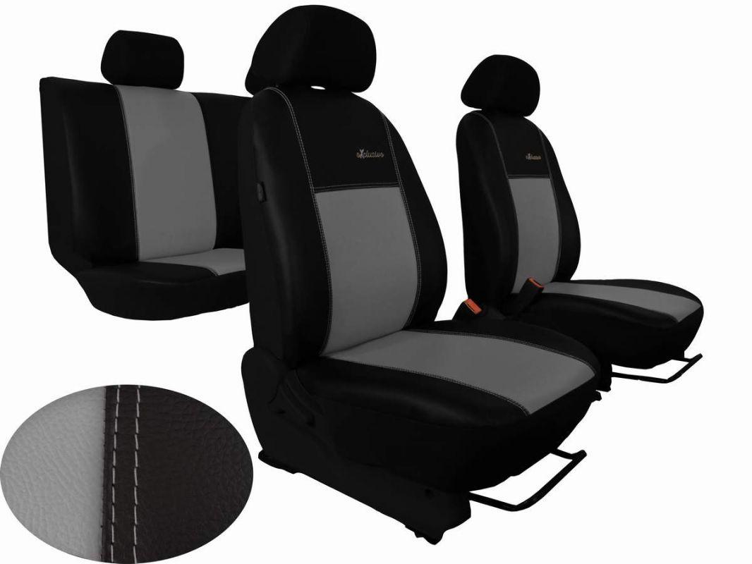 Autopotahy Škoda Fabia II, kožené EXCLUSIVE černošedé, dělené zadní sedadla