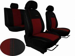 Autopotahy Škoda Fabia II, kožené EXCLUSIVE černovínové, dělené zadní sedadla