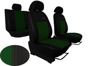 Autopotahy Škoda Fabia II, kožené EXCLUSIVE černozelené, nedělené zadní sedadla