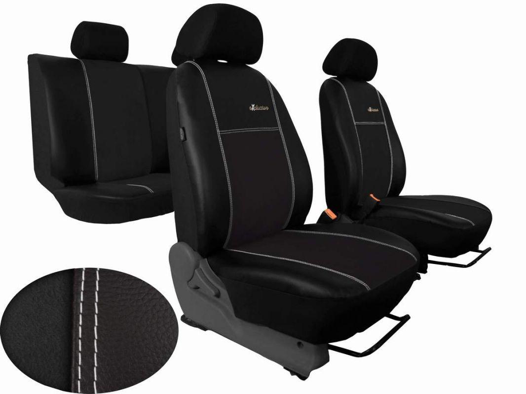 Autopotahy Škoda Fabia II, kožené s alcantarou EXCLUSIVE černé, dělené zadní sed.