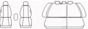 Autopotahy Škoda Octavia II, kožené s alcantarou EXCLUSIVE tm. šedé, dělené
