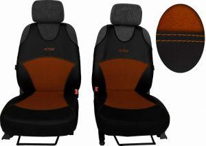 Autopotahy Active Sport kožené s alcantarou, sada pro dvě sedadla, hnědé