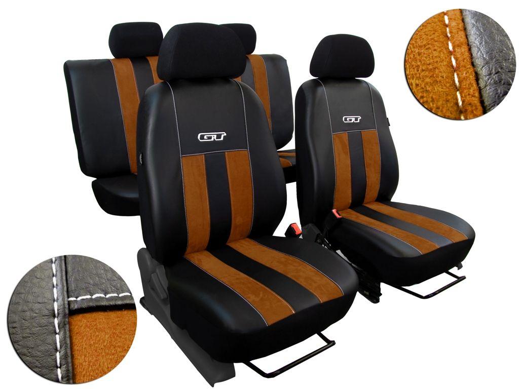 Autopotahy kožené s alcantarou GT hnědé