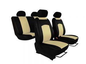 Autopotahy Škoda Fabia II, kožené Tuning černobéžové, dělené zadní sedadla