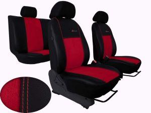 Autopotahy Škoda Octavia III, kožené/alcantara, EXCLUSIVE,se zadní loketní opěrkou červené