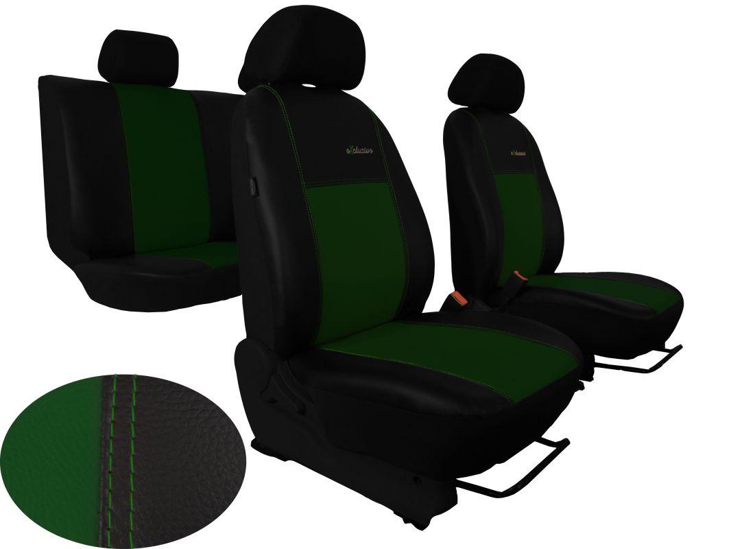 Autopotahy Škoda Octavia III, kožené EXCLUSIVE zelené, se zadní loketní opěrkou