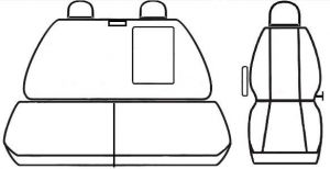 Autopotahy Ford Tranzit CUSTOM, 3 místa, černé Vyrobeno v EU