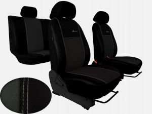 Autopotahy Volkswagen VW Crafter,3 místa, stolek , EXCLUSIVE kožené s alcantarou, tm. šedé