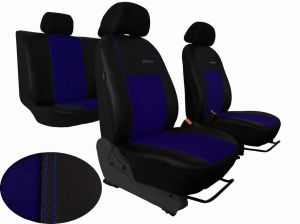 Autopotahy Volkswagen VW Crafter,3 místa, stolek , EXCLUSIVE kožené s alcantarou, modré