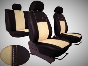 Autopotahy Volkswagen VW Crafter,3 místa, stolek , EXCLUSIVE kožené s alcantarou, béžové