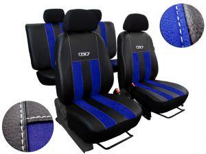 Autopotahy Volkswagen VW Crafter,3 místa, stolek, GT kožené s alcantarou, modré