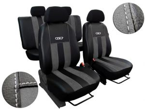 Autopotahy Volkswagen VW Crafter,3 místa, stolek, GT kožené s alcantarou, tmavošedé