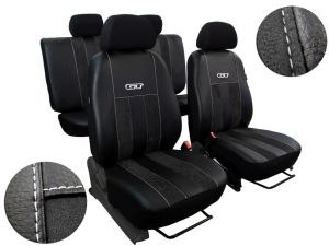 Autopotahy Volkswagen VW Crafter,3 místa, stolek, GT kožené s alcantarou, černé