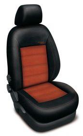 Autopotahy kožené MERCEDES B W245, od r. 2005-2011, AUTHENTIC VELVET černooranžové