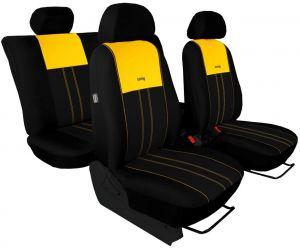 Autopotahy NISSAN PULSAR, se zadní loketní opěrkou, od r. 2014, Duo Tuning žluto černé