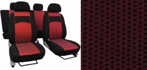 Autopotahy ŠKODA OCTAVIA III, integrované přední opěrky hlavy, VIP červené