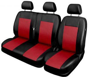 Autopotahy pro BUS, DODÁVKU, 3 místa 1+2, ekokůže COMFORT červené