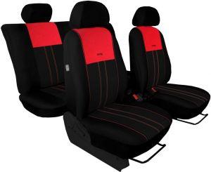 Autopotahy VOLKSWAGEN POLO V, dělená zadní sedadla, od r. v.2009, DUO TUNING červeno černé