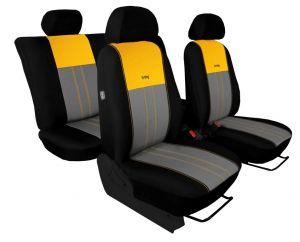 Autopotahy VOLKSWAGEN POLO V, dělená zadní sedadla, od r. v.2009, DUO TUNING žluto šedé