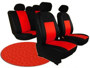 Autopotahy VOLKSWAGEN POLO V, dělená zadní sedadla, od r. v. 2009, kožené PELLE červené