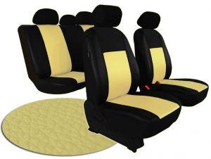 Autopotahy VOLKSWAGEN POLO V, dělená zadní sedadla, od r. v. 2009, kožené PELLE béžové