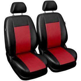 Autopotahy COMFORT kožené, sada pro dvě sedadla, červené