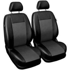 Autopotahy COMFORT kožené, sada pro dvě sedadla, šedé