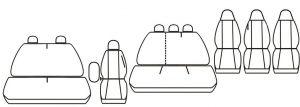 Autopotahy OPEL VIVARO II, 9 míst, nedělený dvojsedák (1+2+3+1+1+1), od 2014, žakar