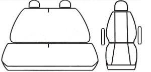 Autopotahy VOLKSWAGEN T4, 3 místa, 1+2, od r. 1990-2003, AUTHENTIC LEATHER černé